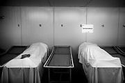 A view of two bodies at the Saint-Pierre University Hospital, Brussels, during the coronavirus disease (COVID-19) outbreak, April 27, 2020.