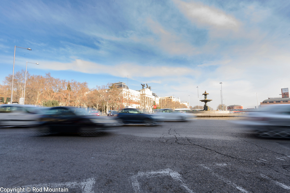 Madrid, Spain - February 16, 2018 - … along Paseo del Prado near Ministerio de Agricultura.<br /> <br /> Image: © Rod Mountain<br /> <br /> http://www.rodmountain.com <br /> <br /> http://bit.ly/Madrid_bw<br /> <br /> #visitamadrid #madrid #VisitSpain #wonderlust.spain #urbexcaptures #somewheremagazine #NUVOmag #myfeatureshoot #smbhmag #wearethestreet #ourstreets #streetdreamsmag #featuremeinstagood #ourstreets #streetactivityteam #urbanphotography #citykillerz #bnw_madrid #enblancoynegro #ic_bw #bwgrammer #bw_perfect #blackandwhitephotographymag #blancnoir2 #bnw_life #bnw_greatshots #loves_bnw #bnw_city #bnwmood #noirshots<br /> <br /> Instagram<br /> @spain @visita_madrid<br /> <br /> FaceBook<br /> @spain.info @visitamadridoficial<br /> <br /> Twitter<br /> @spain @Visita_Madrid @VisitMadrid_EN<br /> <br /> https://en.wikipedia.org/wiki/Paseo_del_Prado<br /> https://www.esmadrid.com/en<br /> https://en.wikipedia.org/wiki/Madrid<br /> https://www.spain.info/en/