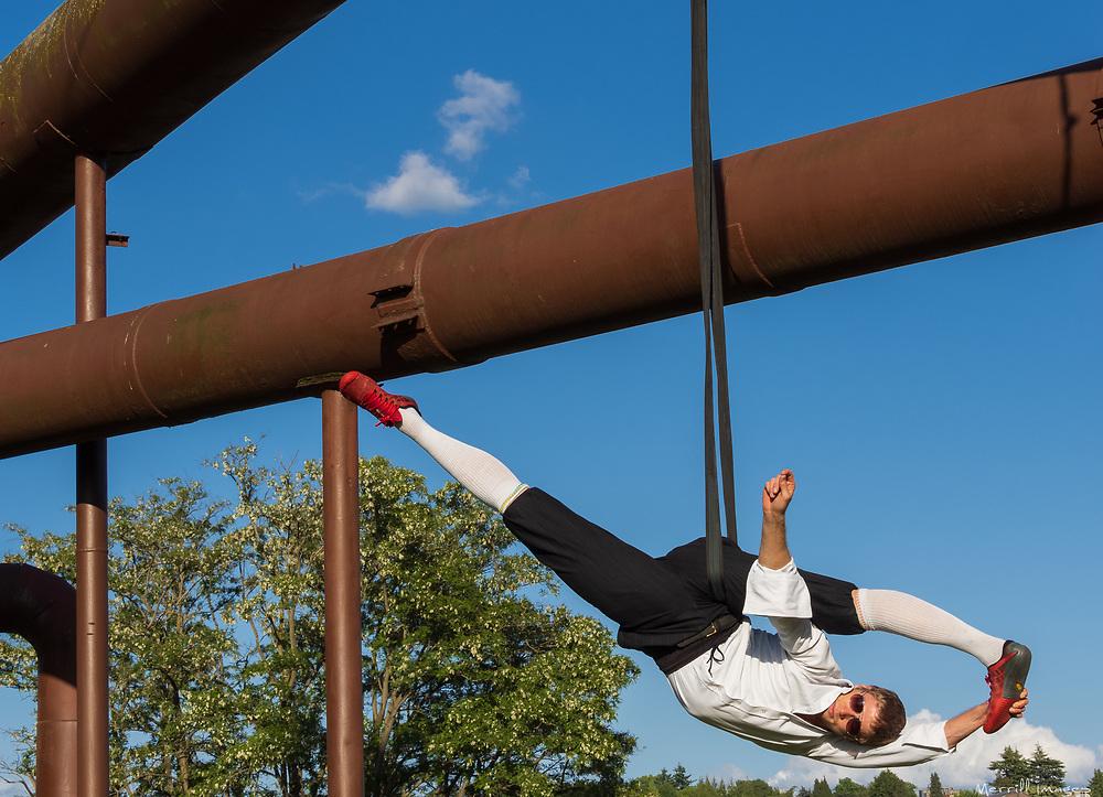 Male aerialist in Gas Works Park, Seattle, WA.