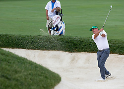 May 31, 2018 - Dublin, OH, U.S. - DUBLIN, OH - MAY 31: Jason Dufner hits out of the bunker during the first round of the Memorial Tournament at Muirfield Village Golf Club in Dublin, Ohio on May 31, 2018.(Photo by Jason Mowry/Icon Sportswire) (Credit Image: © Jason Mowry/Icon SMI via ZUMA Press)