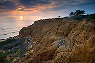Sunset over the eroded cliffs near Razor Point, Torrey Pines State Reserve, San Diego, California