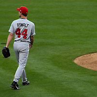 22 March 2009: #44 Roy Oswalt of USA walks to the mound as he pitches against Japan during the 2009 World Baseball Classic semifinal game at Dodger Stadium in Los Angeles, California, USA. Japan wins 9-4 over Team USA.