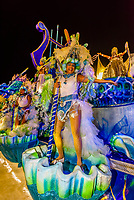 Floats in the Carnaval parade of Academicos do Sossego samba school in the Sambadrome, Rio de Janeiro, Brazil.