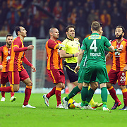 Galatasaray's Olcan Adin (R) during their Turkish Super League soccer match Galatasaray between Bursaspor at the AliSamiYen Spor Kompleksi TT Arena at Seyrantepe in Istanbul Turkey on Sunday, 01 February 2015. Photo by Batuhan AKICI/TURKPIX