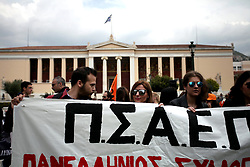 April 5, 2017 - Athens, Attica, Greece - Unemployed teachers and students shout slogans and hold banners during a protest against Greek government's education policies in Athens, Greece, April 5, 2017. (Credit Image: © Giorgos Georgiou/NurPhoto via ZUMA Press)
