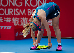 October 12, 2018 - Daria Gavrilova of Australia in action during her quarter-final match at the 2018 Prudential Hong Kong Tennis Open WTA International tennis tournament (Credit Image: © AFP7 via ZUMA Wire)