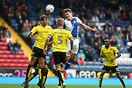 Sam Gallagher of Blackburn Rovers tries to flick a cross goal wards during the EFL Sky Bet Championship match between Blackburn Rovers and Burton Albion at Ewood Park, Blackburn, England on 20 August 2016. Photo by Simon Brady.
