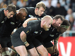 © Andrew Fosker / Seconds Left Images 2011 - England front row (1st half) (L to R) Dan Cole, Steve Thompson & Andrew Sheridan -  with Louis Deacon , Courtney Lawes & Tom Croft in the 2nd row -  Argentina v England - Rugby World Cup 2011 - Otago Stadium - Dunedin - New Zealand - 10/09/2011 -  All rights reserved..