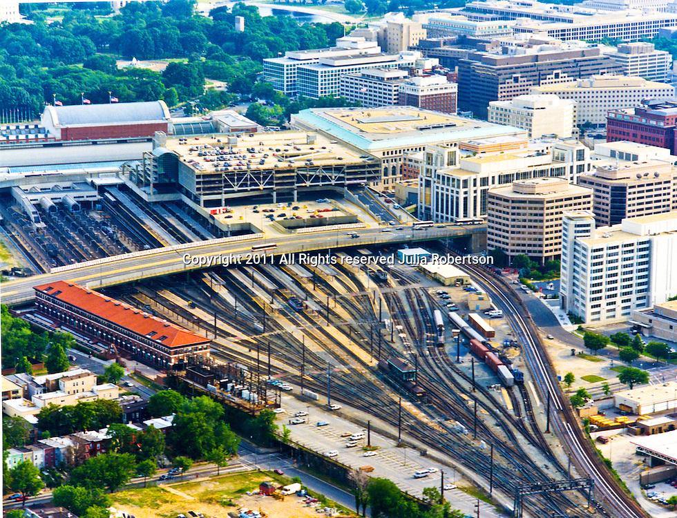 Aerial view of the Washington DC Union Station, Amtrak Train Tracks