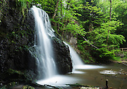 Side view of the upper falls at Fairy Glen on the Blck Isle of Scotland.