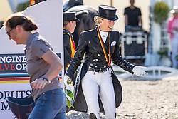 BREDOW-WERNDL Jessica von (GER)<br /> Meisterdusche<br /> Siegerehrung/Meisterehrung<br /> Longines Großer Optimum Preis <br /> präsentiert von das Meggle GmbH & Co. KG<br /> Nat. Dressurprüfung Kl. S**** - Grand Prix Kür <br /> Finale Deutsche Meisterschaften<br /> Balve Optimum - Deutsche Meisterschaft Dressur 2020<br /> 20. September2020<br /> © www.sportfotos-lafrentz.de/Stefan Lafrentz