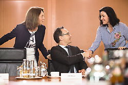 April 18, 2018 - Berlin, Germany - German Foreign Minister Heiko Maas (C) greets German Justice Minister Katarina Barley (L) and State Minister for Digitalization Dorothee Baer (R) prior to the Weekly Cabinet Meeting at the Chancellery in Berlin, Germany on April 18, 2018. (Credit Image: © Emmanuele Contini/NurPhoto via ZUMA Press)