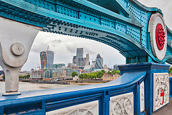 City of London through Tower Bridge, London, England, UK