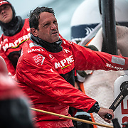 Leg 10, from Cardiff to Gothenburg, day 04 on board MAPFRE, Joan Vila at the aft pedestal. 13 June, 2018.