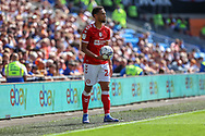 Bristol City's Zak Vyner (26) prepare to take a throw in during the EFL Sky Bet Championship match between Cardiff City and Bristol City at the Cardiff City Stadium, Cardiff, Wales on 28 August 2021.