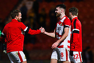 Ben Whiteman of Doncaster Rovers (8) is congratulated by James Coppinger of Doncaster Rovers (26) after his two goals see Doncaster through to the next round during the The FA Cup fourth round match between Doncaster Rovers and Oldham Athletic at the Keepmoat Stadium, Doncaster, England on 26 January 2019.