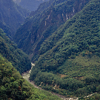 Tsangpo (Brahmaputra) River Gorge, Himalaya, Tibet, People's Republic of China.Impenetrable rain forest grows on cliffs barricading this forbidding canyon.