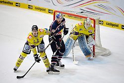 30.12.2013, Olympia Eissportzentrum, Muenchen, GER, DEL, EHC Red Bull Muenchen vs Krefeld Pinguine, 33. Runde, im Bild Josh Meyers (Krefeld Pinguine), Daniel Sparre (EHC Red Bull Muenchen)Tomas Duba, Torwart (Krefeld Pinguine) v li Aktion, <br /> EHC Red Bull Muenchen vs Krefeld Pinguine Eishockey, DEL, Saison 2013 2014, 30 12 13 <br /> Foto: Eibner // during germans DEL Icehockey League 33th round match between EHC Red Bull Munich vs Krefeld Pinguine at the Olympia Eissportzentrum in Muenchen, Germany on 2013/12/30. EXPA Pictures © 2014, PhotoCredit: EXPA/ Eibner-Pressefoto/ Buthmann<br /> <br /> *****ATTENTION - OUT of GER*****