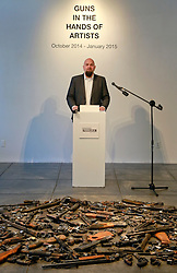 16 April 2014. Jonathan Ferrara Gallery, New Orleans, Louisiana. <br /> Jonathan Ferrara announces the 'Guns In The Hands Of Artists' project where artists take parts from 190 destroyed weapons acquired by the New Orleans Police department through a buy-back program and convert them into art.  <br /> Photo; Charlie Varley/varleypix.com