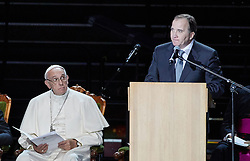 October 31, 2016 - Malm√, Sweden - Pope Francis, Swedish Prime minister Stefan L√∂fven  are seen on stage during the 'Together in Hope' event at Malmo Arena on October 31, 2016 in Malmo, Sweden. The Pope is on 2 days visit attending Catholic-Lutheran Commemoration in Lund and Malmo.  (Credit Image: © Aftonbladet/IBL via ZUMA Wire)