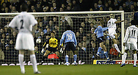 Photo. Aidan Ellis.<br /> Leeds United v Manchester City.<br /> FA Barclaycard Premiership.<br /> 22/03/2004.<br /> Leeds Stephen McPhail's Free Kick curls into the city net for the first goal