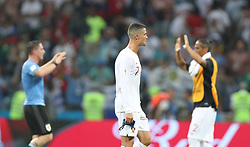 SOCHI, June 30, 2018  Cristiano Ronaldo (C) of Portugal leaves the pitch after the 2018 FIFA World Cup round of 16 match between Uruguay and Portugal in Sochi, Russia, June 30, 2018. Uruguay won 2-1 and advanced to the quarter-final. (Credit Image: © Fei Maohua/Xinhua via ZUMA Wire)