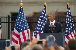 September 11, 2016 - Arlington, United States of America - U.S President Barack Obama speaks during a ceremony commemorating the 15th anniversary of the 9/11 terrorist attacks at the Pentagon September 11, 2016 in Arlington, Virginia. (Credit Image: © Spc. Trevor Wiegel/Planet Pix via ZUMA Wire)