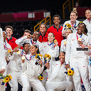 TOKYO, JAPAN August 8:  Brittney Griner #15 of the United States takes a selfie with the rest of the gold medal winning United States team after the Japan V USA basket final for women at the Saitama Super Arena during the Tokyo 2020 Summer Olympic Games on August 8, 2021 in Tokyo, Japan. (Photo by Tim Clayton/Corbis via Getty Images)