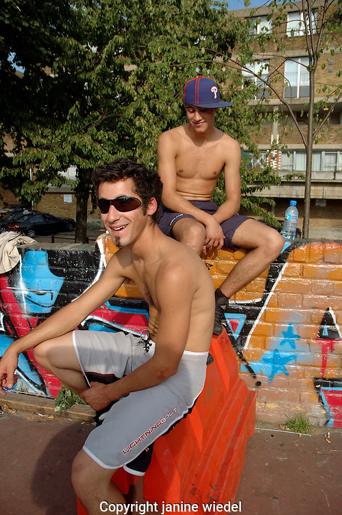 Youth at urban Skate park in Brixton South London.