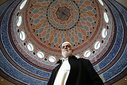 © Licensed to London News Pictures. 07/02/2015. Leeds, UK. Mohammad Muneer, Secretary of Leeds Grand Mosque in West Yorkshire, underneath the mosque's impressive dome as mosques all over Britain open their doors to non-muslims. The day is aimed at explaining their faith beyond the hostile headlines. This is the second 'Visit My Mosque Day' with the first being last year. Organised by the Muslim Council of Britain, last year's event attracted hundreds of visitors for tours, talks and tea. Photo credit : Ian Hinchliffe/LNP