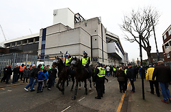 """Police on horseback outside the stadium prior to the Emirates FA Cup, Quarter Final match at White Hart Lane, London. PRESS ASSOCIATION Photo. Picture date: Sunday March 12, 2017. See PA story SOCCER Tottenham. Photo credit should read: John Walton/PA Wire. RESTRICTIONS: EDITORIAL USE ONLY No use with unauthorised audio, video, data, fixture lists, club/league logos or """"live"""" services. Online in-match use limited to 75 images, no video emulation. No use in betting, games or single club/league/player publications."""
