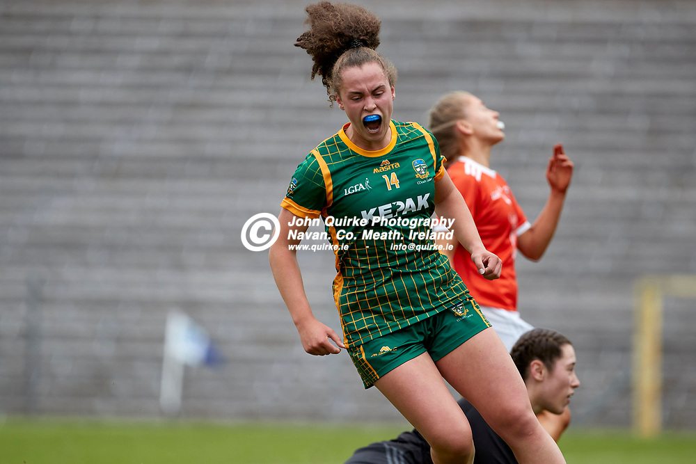 01-08-21, All Ireland Ladies SFC quarterfinal at Clones<br /> Meath v Armagh<br /> Emma Duggan (Meath) celebrates after scoring a first half goal<br /> Photo: David Mullen / www.quirke.ie ©John Quirke Photography, Proudstown Road Navan. Co. Meath. 046-9079044 / 087-2579454.<br /> ISO: 400; Shutter: 1/1250; Aperture: 4.5;