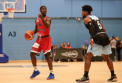 Jalan McCloud of Bristol Flyers on the ball - Photo mandatory by-line: Arron Gent/JMP - 28/04/2019 - BASKETBALL - Surrey Sports Park - Guildford, England - Surrey Scorchers v Bristol Flyers - British Basketball League Championship