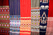 THAILAND, NORTH, GOLDEN TRIANGLE Chiang Mai, display of traditional woven and dyed textiles including ikat