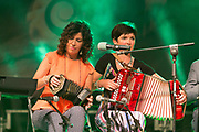 **NO REPRO FEE** Nuala Hehir and friends in the gig rig at the Fleadh in Ennis on Monday. Photograph by Eamon Ward