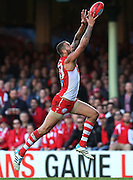 Lance Franklin of the Swans takes the ball then kicks a goal during the 2014 AFL Round 13 match between the Sydney Swans and Port Adelaide Power at the SCG, Sydney on June 14, 2014. (Photo: Craig Golding/AFL Media)