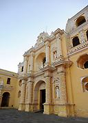 The ornate baroque facade and main entrance of the church of La Mercad. . Antigua Guatemala, Republic of Guatemala. 02Mar14