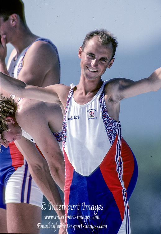 Barcelona, SPAIN. Gold Medalist, GBR M2+, cox, Gary HERBERT.  Celebrate on the awards dock. 1992 Olympic Rowing Regatta Lake Banyoles, Catalonia [Mandatory Credit Peter Spurrier/ Intersport Images] Last time Men's coxed pair raced at the Olympics,