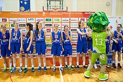Players of Triglav look dejected after the basketball match between ZKK Athlete Celje and ZKK Triglav in Finals of 1. SKL for Women 2014/15, on April 20, 2015 in Gimnazija Celje Center, Celje, Slovenia. ZKK Athlete Celje became Slovenian National Champion 2015. Photo by Vid Ponikvar / Sportida