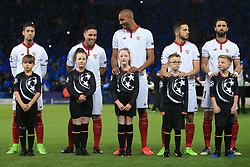 14th March 2017 - UEFA Champions League - Round of 16 (2nd Leg) - Leicester City v Sevilla - Samir Nasri of Sevilla and teammate Steven N'Zonzi share a laugh and a joke as they stand behind the mascots before the match - Photo: Simon Stacpoole / Offside.