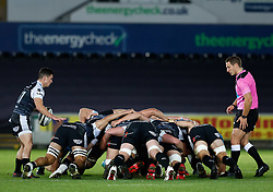 2nd November, Liberty Stadium , Swansea, Wales ; Guinness pro 14's Ospreys Rugby v Glasgow Warriors ;  Matthew Aubrey of Ospreys puts in to the scrum<br /> <br /> Credit: Simon King/News Images<br /> <br /> Photographer Simon King/Replay Images<br /> <br /> Guinness PRO14 Round 8 - Ospreys v Glasgow Warriors - Friday 2nd November 2018 - Liberty Stadium - Swansea<br /> <br /> World Copyright © Replay Images . All rights reserved. info@replayimages.co.uk - http://replayimages.co.uk