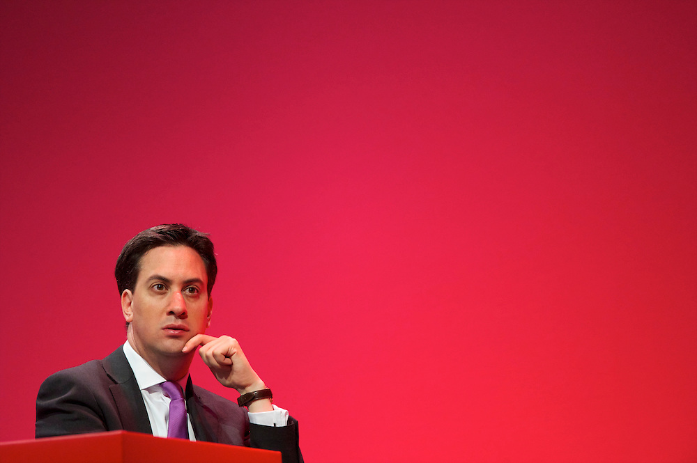Newly elected Labour leader Ed Miliband reacts to a speech at the Labour Autumn Conference in Manchester on 27 September 2010.
