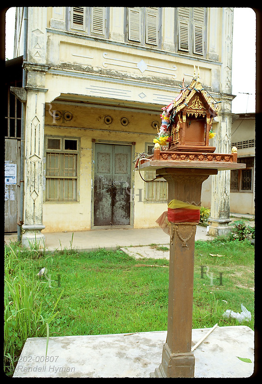 Spirit house, home of Phra Phum, Lord of the Land, sits as good luck in believer's yard; Phuket. Thailand