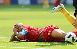 June 23, 2018 - Moscow, Russia - Wahbi Khazri of Tunisia sustains injury during the 2018 FIFA World Cup Group G match between Belgium and Tunisia in Moscow. (Credit Image: © Yang Lei/Xinhua via ZUMA Wire)