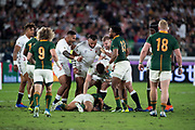 England team congratulates to Tom Curryof England for the penal during the Rugby World Cup  final match between England and South Africa at the International Stadium ,  Saturday, Nov. 2, 2019, in Yokohama, Japan. South Africa defeated England 32-12. (Florencia Tan Jun/ESPA-Image of Sport)