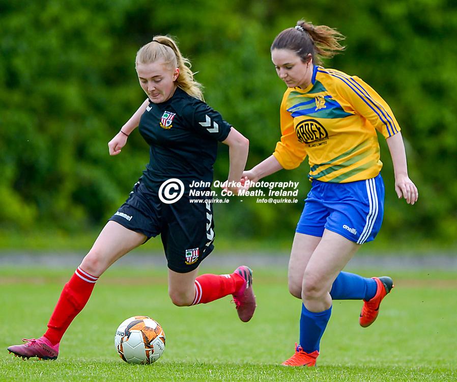 Full Time Score 2 - 2<br /> <br /> Balrath's Meg Ni Scolai and Amy Herbert of Skryne/Tara in the Skryne/Tara v Balrath, North East Football League Women's Div South match, at Ross Cross, Tara.<br /> <br /> Photo: GERRY SHANAHAN-WWW.QUIRKE.IE<br /> <br /> 26-06-2021