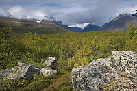 Glacial scree with Bielloriehppe mountain in background, Sarek National Park, Laponia World Heritage Site, Sweden