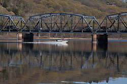 Selections from a day trip to Stillwater,--The Birthplace of Minnesota.  A speedboat makes its way beneath the steel lift bridge nearer the Wisconsin side of the St. Croix River.