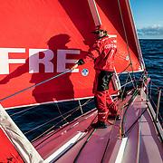 Leg 8 from Itajai to Newport, day 07 on board MAPFRE, Antonio Cuervas-Mons during a peeling. 28 April, 2018.
