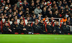 Man Utd Manager David Moyes (SCO) and his bench look disappointed as their side lose posession during the first half - Photo mandatory by-line: Rogan Thomson/JMP - 07966 386802 - 12/02/14 - SPORT - FOOTBALL - Emirates Stadium, London - Arsenal v Manchester United - Barclays Premier League.